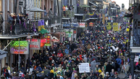 A typical Mardi Gras scene in New Orleans.