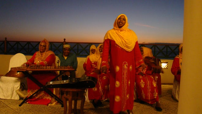 An all-female band performed for guests at the Serena Hotel on Zanzibar.