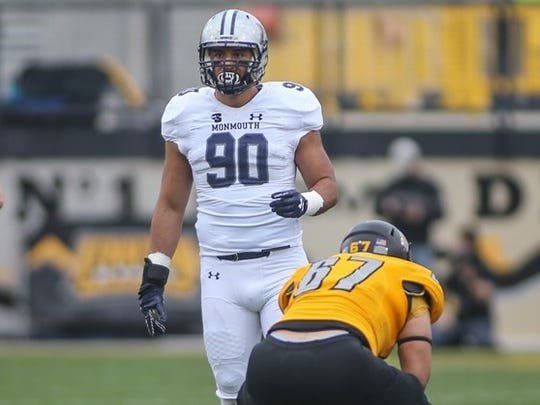 Monmouth defensive lineman Manny Maragoto (90), a redshirt senior from Freehold Township, is one of the Shore Conference products who have helped the Hawks rise to national prominence.