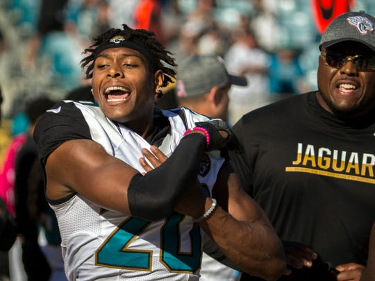 Jacksonville Jaguars cornerback Jalen Ramsey (20) throws
