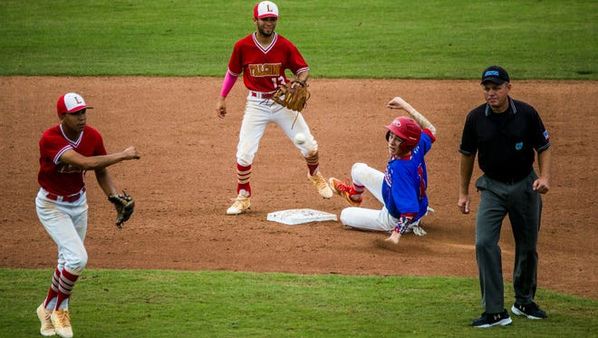 Pace senior Blake Cordova slides in to second base against Leto in the class 7A state semifinal at Hammond Stadium in Fort Myers on Wednesday, May 30, 2018.