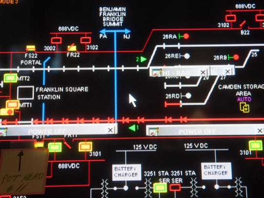 A detail of the overview board in the PATCO Center Tower in Camden.  05.30.14