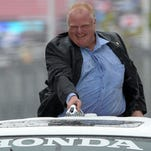 Toronto Mayor Rob Ford goes on a parade lap before the Verizon IndyCar Series Honda Indy Toronto on July 19, 2014.