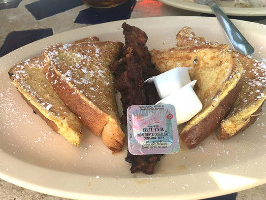 Seaside Grill's French toast is four halves of egg