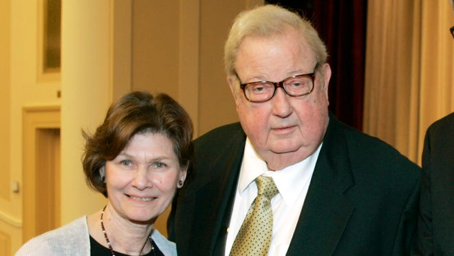 """July 30, 2014: Anne and Robert Drew, left, join Ed Carter and Grace Guggenheim, right, during an event honoring him at the National Archives in Washington, D.C. The """"cinema verite"""" technique and its pioneer, documentary filmmaker Robert Drew, were celebrated by the National Archives and Records Administration and Hollywood's Academy of Motion Picture Arts and Sciences on April 27, 2007. Drew?s eldest son, Thatcher Drew, confirmed that the filmmaker died Wednesday morning at his home in Sharon, Conn."""
