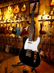 A Fender Custom Shop 1960 Telecaster Custom Reissue in Closet Classic Black with matching headcap ($4120) at Russo Music in Asbury Park Friday, March 24, 2017.