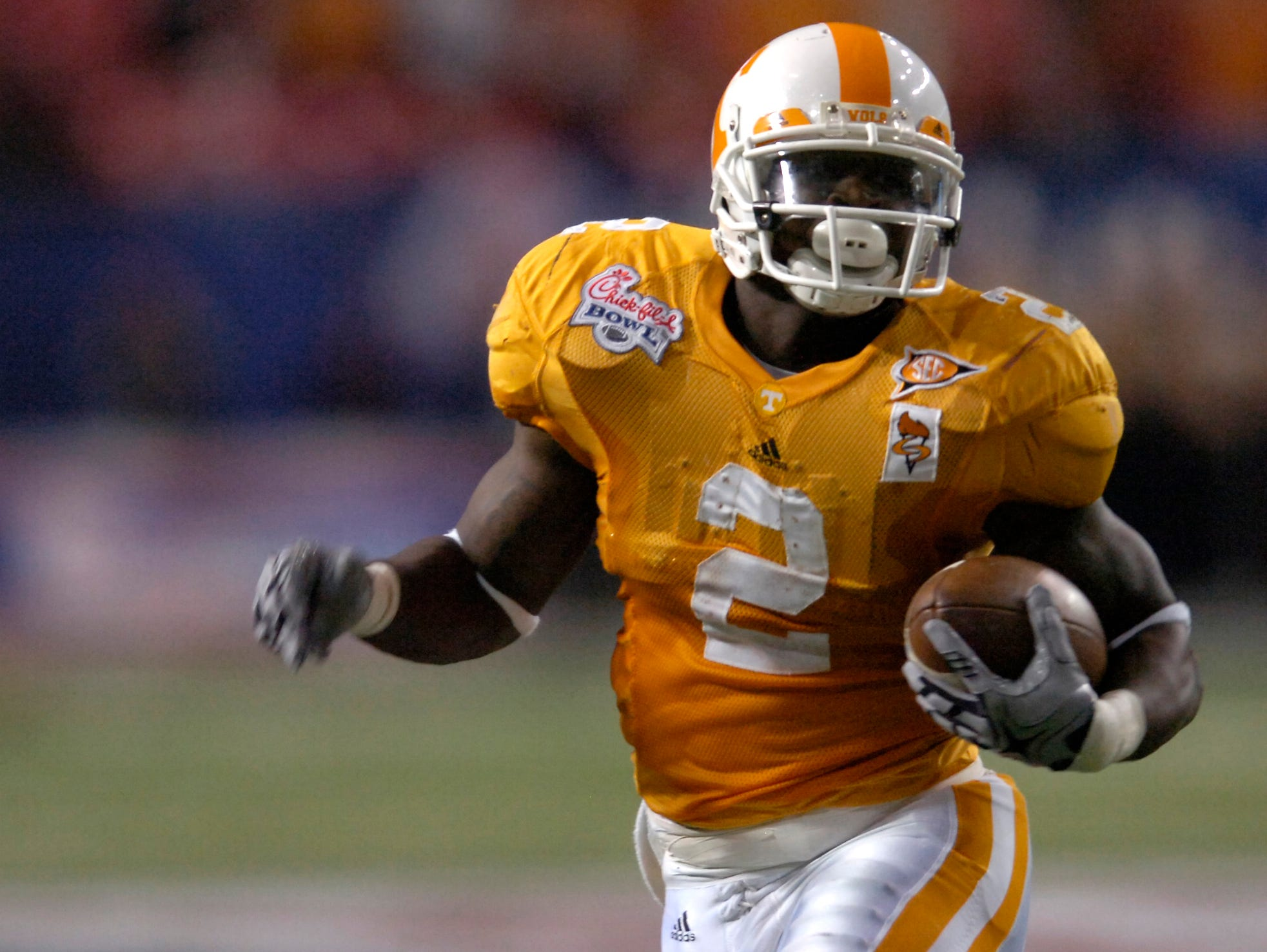 Running back Montario Hardesty carries the ball against Virginia Tech during the Chick-Fil-A Bowl on Dec. 31, 2009, in Atlanta.