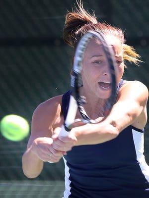 UTEP's Milou Pietersz returns an Iowa Statye shot Friday at the El Paso Tennis Club.