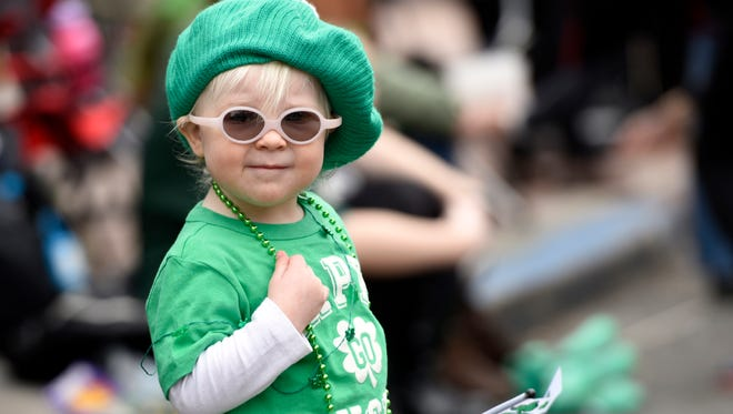 Hannah Bolmer, 1, of Waldwick, at the 35th Annual St. Patrick's Day Parade in Bergenfield, N.J., on March 13, 2016.