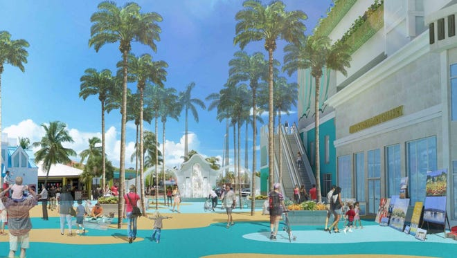 New concept renderings on Grand Resorts-FMB's website show an outdoor elevator (right) bring beach goers from the proposed Beach parking garage to ground level, via an elevated pedestrian walkway from the proposed Beach parking garage. The walkway would lead to an outdoor escalator taking beach goers to ground level.