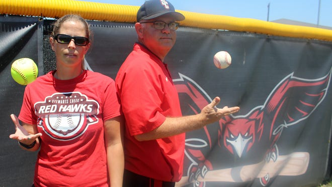 Stewarts Creek softball coach Tory Atwood, left, and Stewarts Creek baseball coach Mike Bartlett have led their respective programs to Spring Fling in the third year of the school.