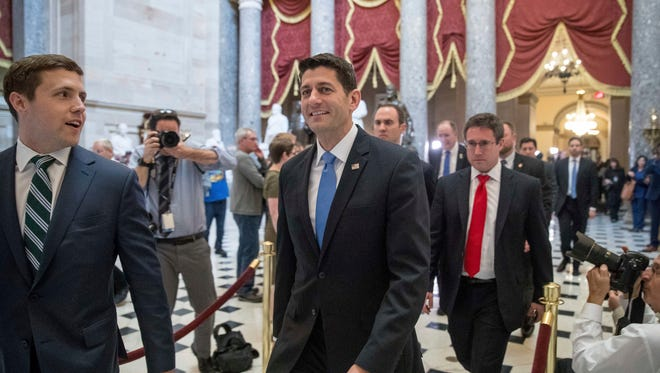 House Speaker Paul Ryan of Wis., walks out of the House Chamber on Capitol Hill in Washington, Thursday, May 4, 2017, after the Republican health care bill passed in the House.