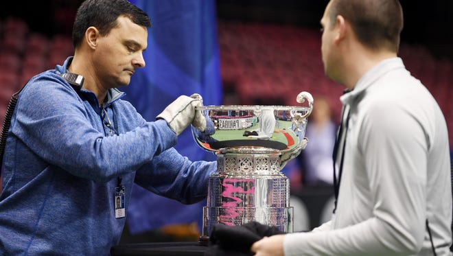 The Fed Cup trophy is placed on a podium before Friday's Fed Cup match draw at the US Cellular Center in Asheville February 9, 2018.