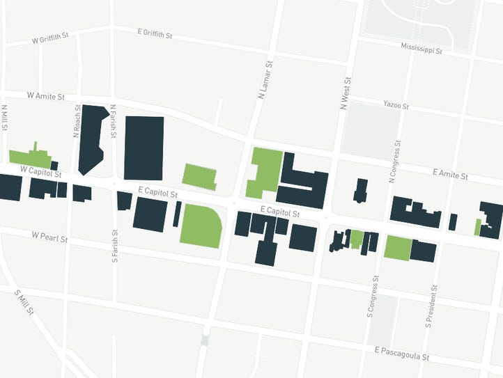A map of Capitol Street developments in downtown Jackson.