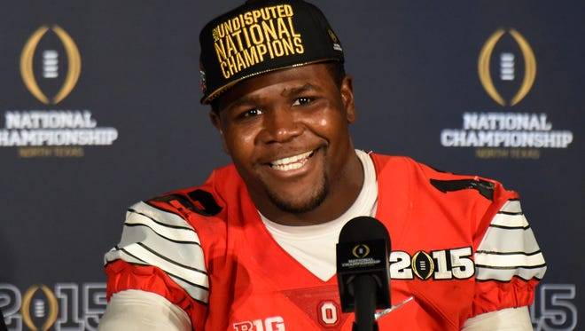 Ohio State quarterback Cardale Jones enjoys the post-game press conference after wining the national title.