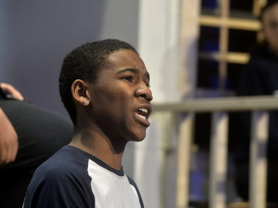 """Josh Griffith, playing the role of Tom Robinson, rehearses on Tuesday afternoon for Great Falls upcoming production of """"To Kill a Mockingbird."""""""