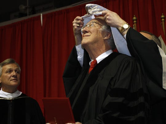 Children's author, Drury poet laureate and education advocate David Harrison received an honorary doctorate during the fall 2008 ?Drury University commencement ceremonies.