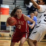 Palmyra-Macedon's Ashley Vanderwall, left, drives past Mercy's Jayla Myles, right, during Monday's game. Vanderwall finished with 38 points in Pal-Mac's 71-67 non-league victory.