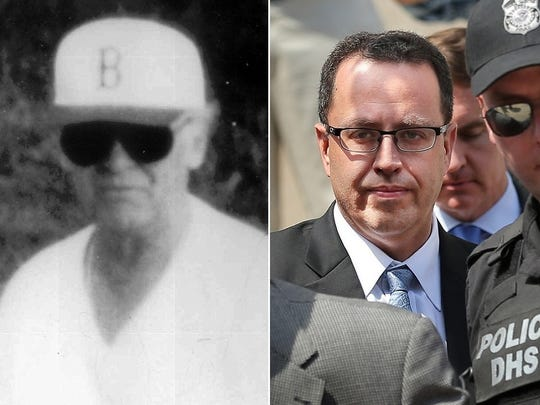 """Whitey Bulger, left, inspired the film """"Black Mass."""" Jared Fogle pleaded guilty to charges of child pornography and having sex with minors."""