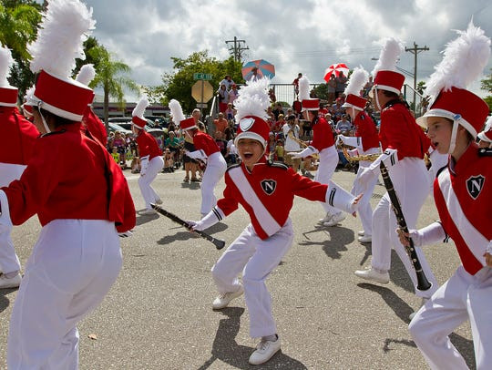 Members of the North Fort Myers High School marching band perform in 2015 at Cape Coral's annual Veterans Day Parade.