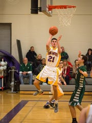 Rhinebeck High School's Rob Veith takes a floater against Spackenkill last season