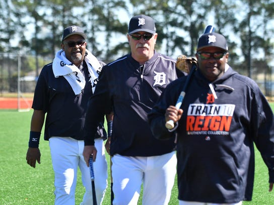 Mike Rojas (center) and Tigers hitting coach Lloyd