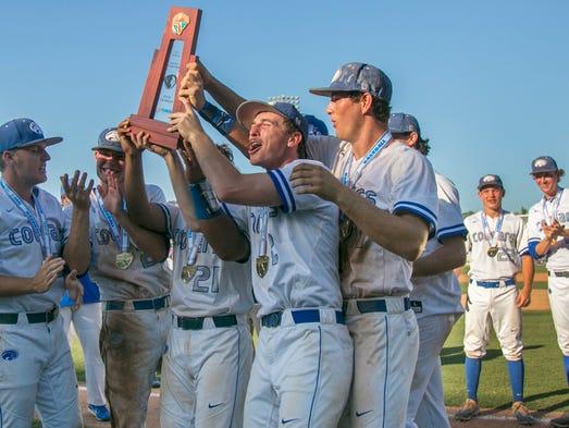 Seniors from the Canterbury School baseball team celebrate
