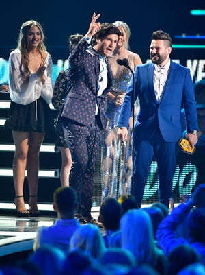 Dan and Shay accept the Duo of the Year at the 2018 CMT Awards Wednesday, June 6, 2018, at Bridgestone Arena in Nashville, Tenn.