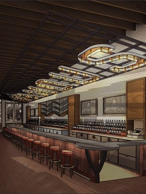 """A rendering shows the word """"famous"""" above the bar that can be seen upon entering Almost Famous from Second Avenue."""