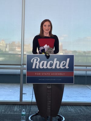 Former TV news reporter Rachel Barnhart speaks publicly about her bid for state Assembly on June 12, 2016.