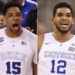 Jahlil Okafor (left) and Karl-Anthony Towns are almost certain to be the top two picks in Thursday night's NBA Draft.