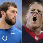 Indianapolis Colts quarterback Andrew Luck (left) and Houston Texans defensive lineman J.J. Watt.