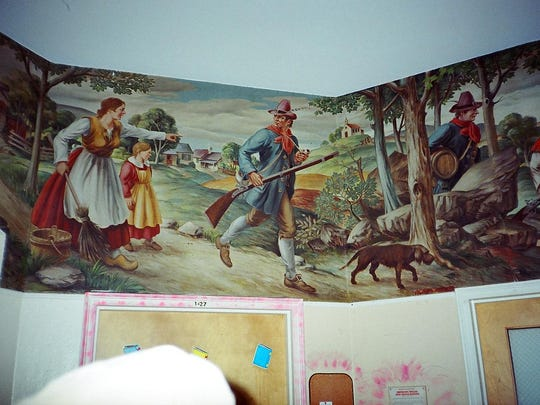 """A portion of the """"Hudson Valley Legends"""" mural that was displayed in the children's hospital at Rockland Psychiatric Center before a partial roof collapse damaged the artworks."""