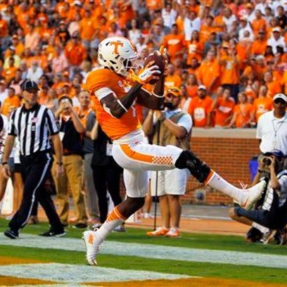 Preston Williams catches a touchdown pass for Tennessee