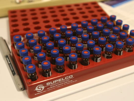 Concentrated samples drawn from shellfish await analysis Friday at a state lab in Shoreline.
