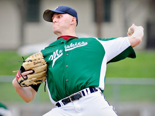 Sartell's pitcher David Deminski throws to a St. Joseph batter in the fourth inning in St. Joseph.