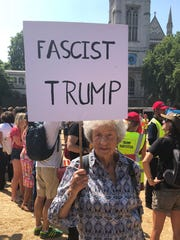 Stephanie Inderbinen, 86, from London,  is protesting