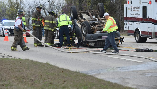 One person was injured and the highway was blocked briefly Monday afternoon when a man driving a Ford truck lost control and rolled the vehicle on U.S. Highway 62 East near the intersection of Teal Point Road. Personnel from Northeast Lakeside Volunteer Fire Department used hydraulic equipment to free the man from the wreckage of the vehicle. He walked under his own power to a gurney before being transported to the hospital by a Baxter Regional Medical Center ambulance. The Arkansas State Police and the Baxter County Sheriff's Office responded to the accident. The ASP generally no longer releases information regarding accidents that do not involve a fatality.