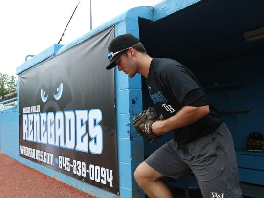 Hudson Valley Renegades outfielder Marvin Malone leaves the dugout during practice at Dutchess Stadium on Wednesday.