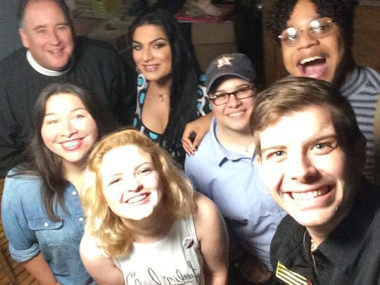 "From left: Julie Garcia, Corpus Christi Caller-Times; Abbey Wagner; Korbin ""Boomer"" Matthews; Father Sean Maloney; Kitana Sanchez; Liz Musella-Robledo; and Quentin Arispe."