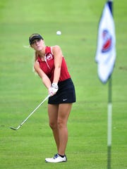 Riverdale's Reagan Kinnie chips onto the 9th green