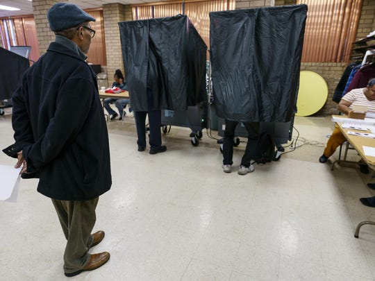 James Harris Jr. waits to vote at Zion Baptist Church Of Philadelphia, on Tuesday, Nov. 5, 2019 in Philadelphia, Pennsylvania's municipal elections feature contests for two statewide appellate judgeships, as well as some potential firsts in local contests
