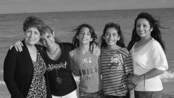 On May 10, 2020, Gloria Davila posted on her Facebook page, wishing her mother, Gloria Alzivures, a happy Mother's Day and including this photo taken at Miami Beach around 2010. From left: Gloria Alzivures; sisters Jasmin Cadavid, Sofia Davila, and Rebeca Davila; and Gloria Davila.