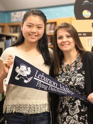 Helen Zheng, left, with Mentor Mrs. Knight.
