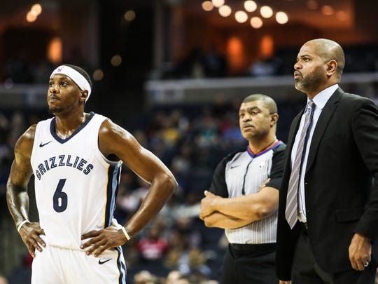 March 02, 2018 - Mario Chalmers, left, and J.B. Bickerstaff