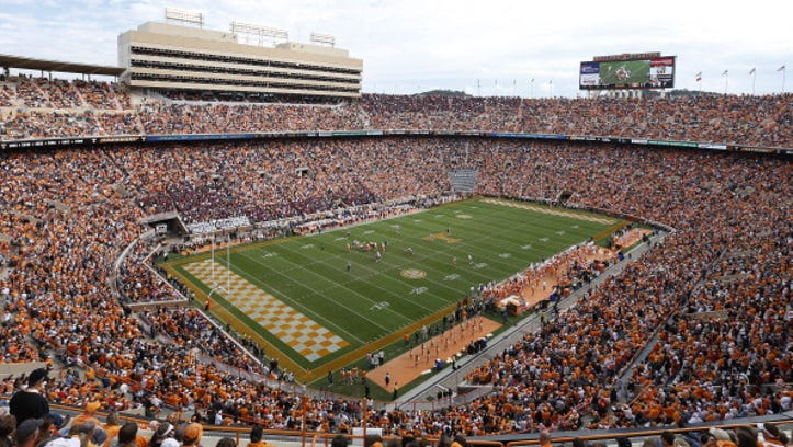 KNOXVILLE, TN - OCTOBER 19: General view of the stadium from the upper level as the Tennessee Volunteers take on the South Carolina Gamecocks at Neyland Stadium on October 19, 2013 in Knoxville, Tennessee. Tennessee won 23-21. (Photo by Joe Robbins/Getty Images)