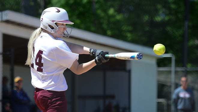 Snow Hill's Hailey Fanlow with a hit against Pocomoke high school on Monday, May 8, 2017.
