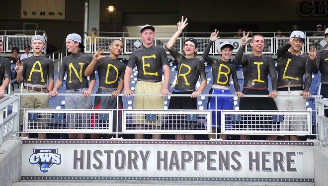 Vanderbilt fans cheer before the start of the game Monday.