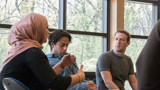 Facebook CEO Mark Zuckerberg meets with Muslim students at University of Michigan-Dearborn on April 28, 2017.