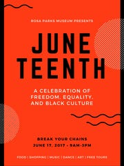 Juneteenth will be celebrated Saturday with a block party at the Rosa Parks Museum in Montgomery.